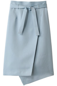 <ELLE SHOP> サテンアシンメトリータイトスカート ブルー