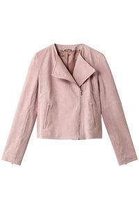 <ELLE SHOP> スエードノーカラーライダースジャケット ピンク