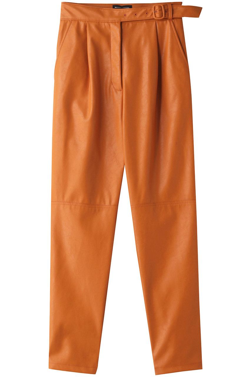 メゾンスペシャル/MAISON SPECIALのヴィーガンレザーテーパードパンツ(ORG(オレンジ)/21202465102)