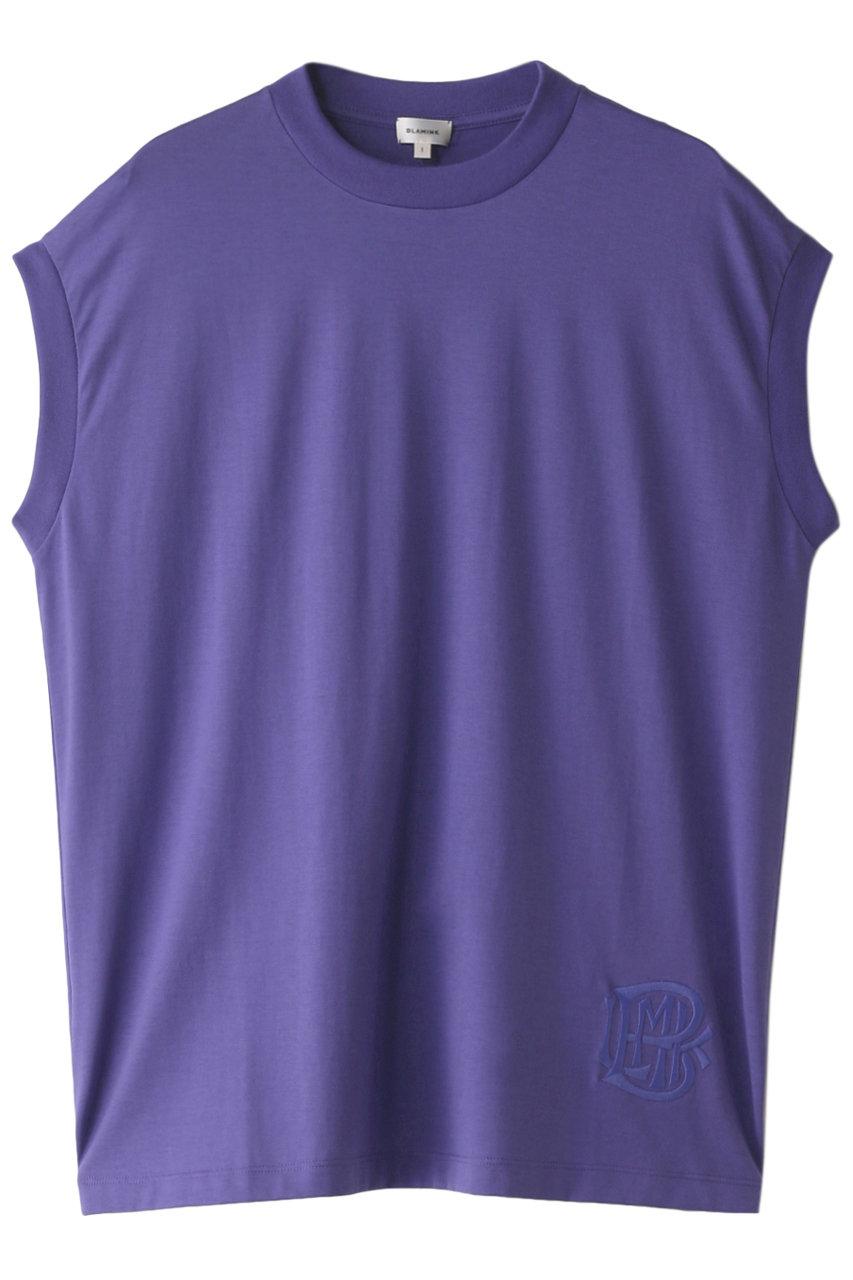 ブラミンク/BLAMINKのコットンクルーネック 刺繍 ノースリーブTシャツ(パープル/7917-222-0011)