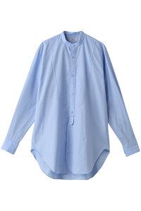 <ELLE SHOP> BLAMINK ブラミンク コットン バンドカラーシャツ ライトブルー